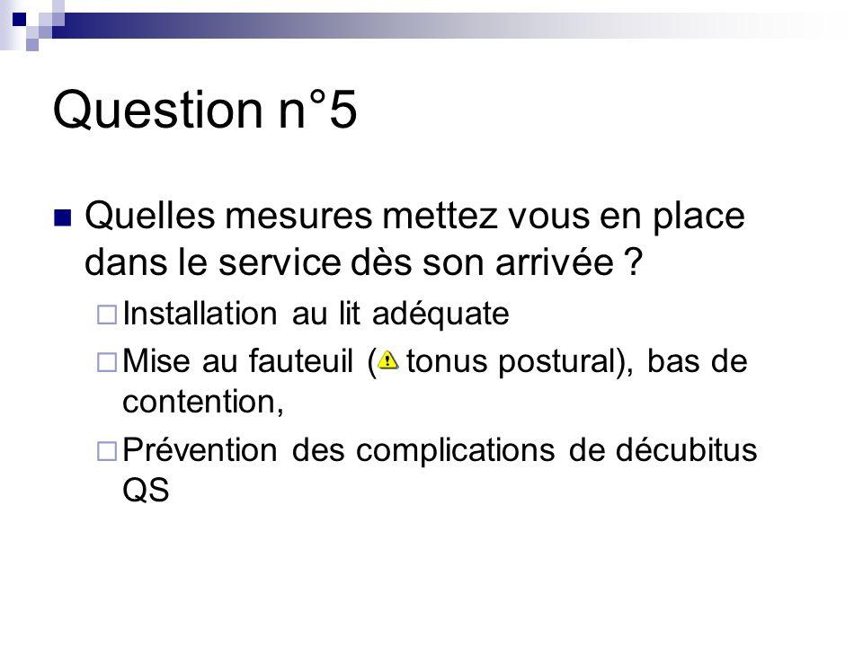 Question n°5 Quelles mesures mettez vous en place dans le service dès son arrivée .