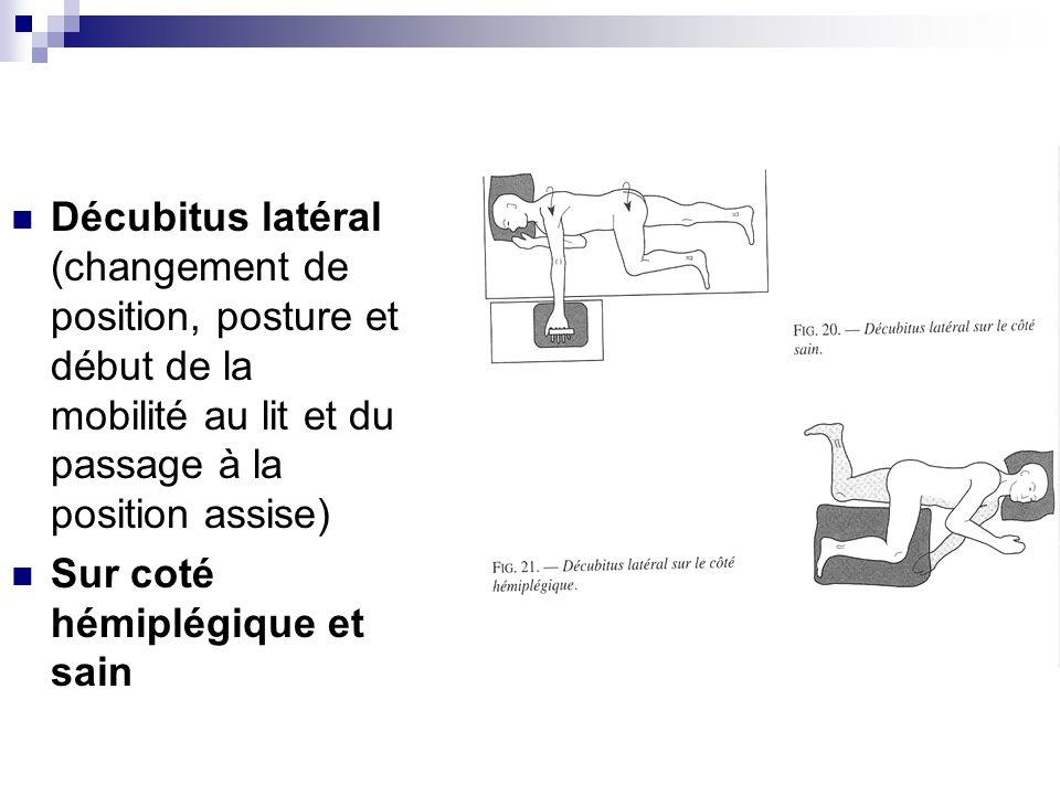 Décubitus latéral (changement de position, posture et début de la mobilité au lit et du passage à la position assise) Sur coté hémiplégique et sain