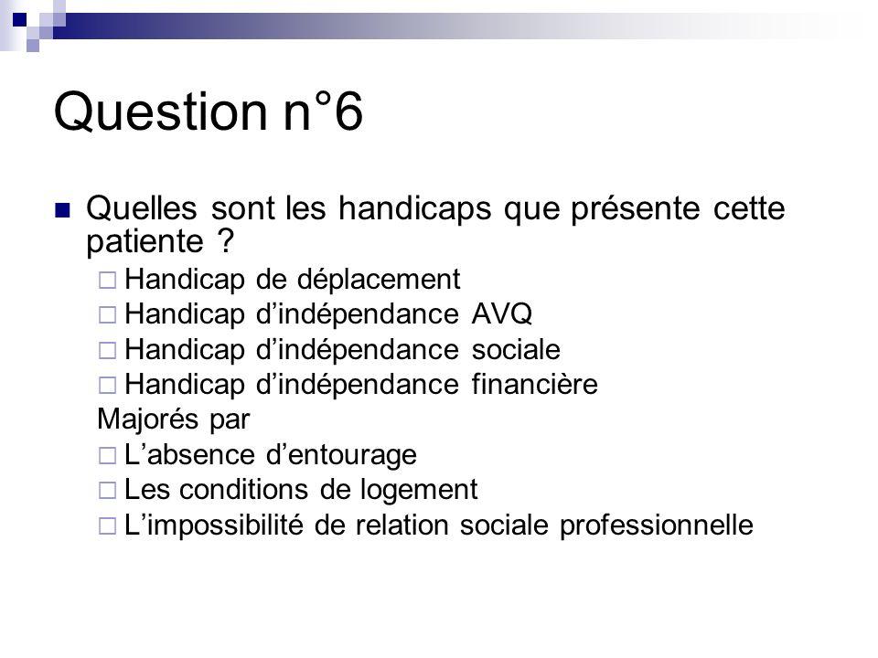 Question n°6 Quelles sont les handicaps que présente cette patiente .