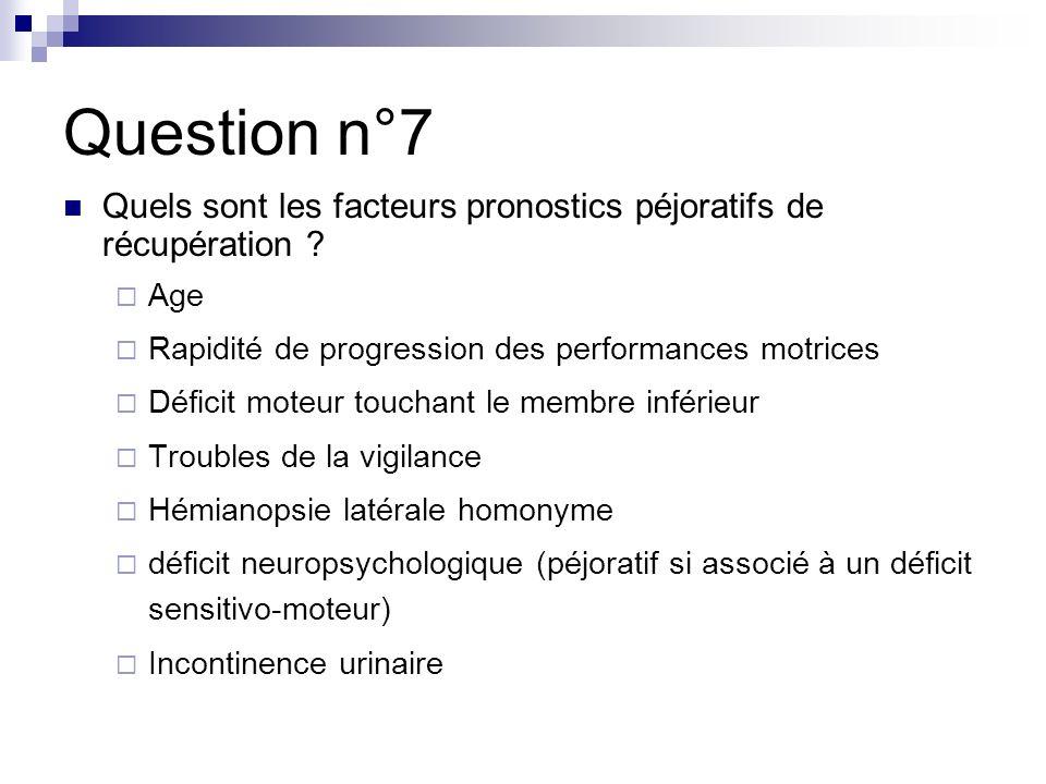 Question n°7 Quels sont les facteurs pronostics péjoratifs de récupération .
