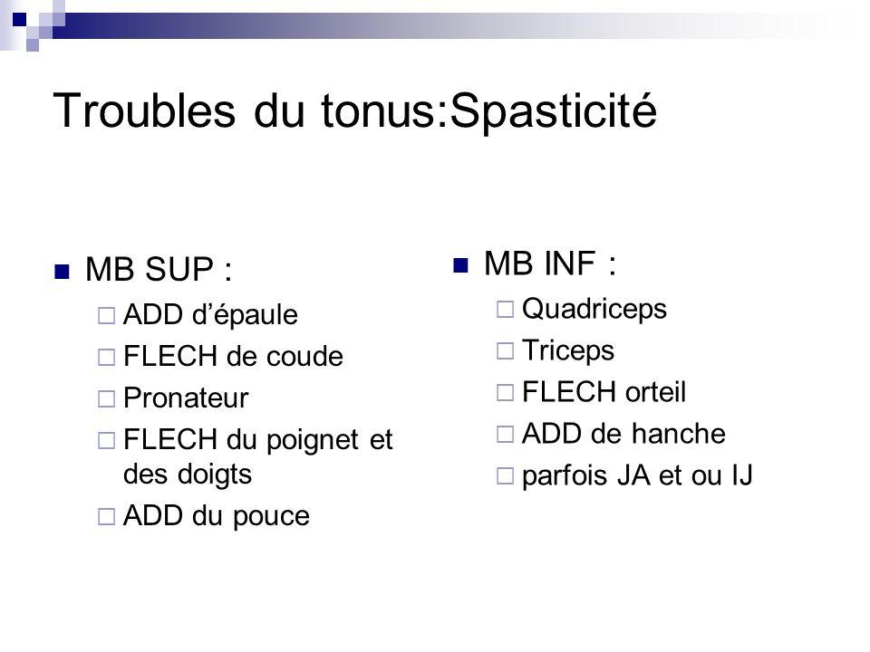 Troubles du tonus:Spasticité MB SUP : ADD dépaule FLECH de coude Pronateur FLECH du poignet et des doigts ADD du pouce MB INF : Quadriceps Triceps FLECH orteil ADD de hanche parfois JA et ou IJ