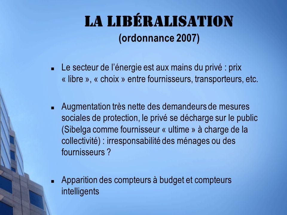 La libéralisation (ordonnance 2007) Le secteur de lénergie est aux mains du privé : prix « libre », « choix » entre fournisseurs, transporteurs, etc.