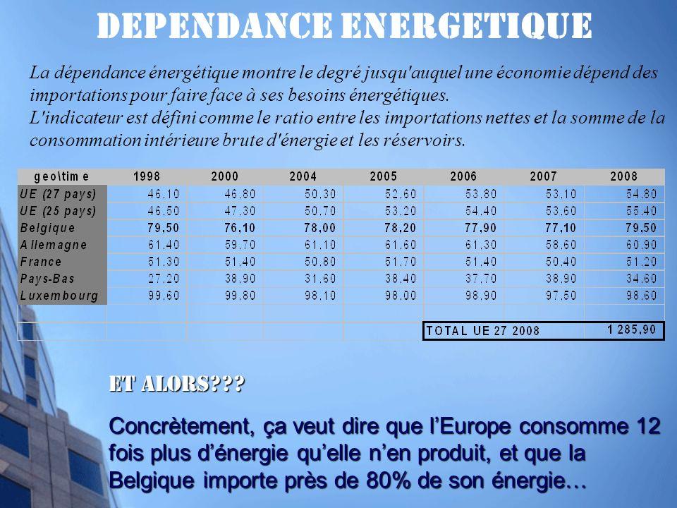 DEPENDANCE ENERGETIQUE La dépendance énergétique montre le degré jusqu auquel une économie dépend des importations pour faire face à ses besoins énergétiques.
