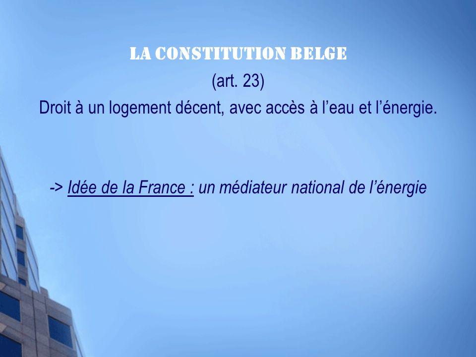 La Constitution Belge (art. 23) Droit à un logement décent, avec accès à leau et lénergie.