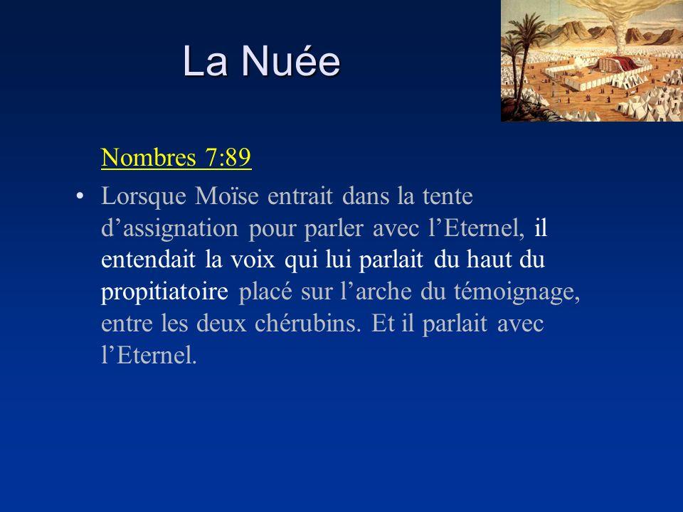 La Nuée Nombres 7:89 Lorsque Moïse entrait dans la tente dassignation pour parler avec lEternel, il entendait la voix qui lui parlait du haut du propi