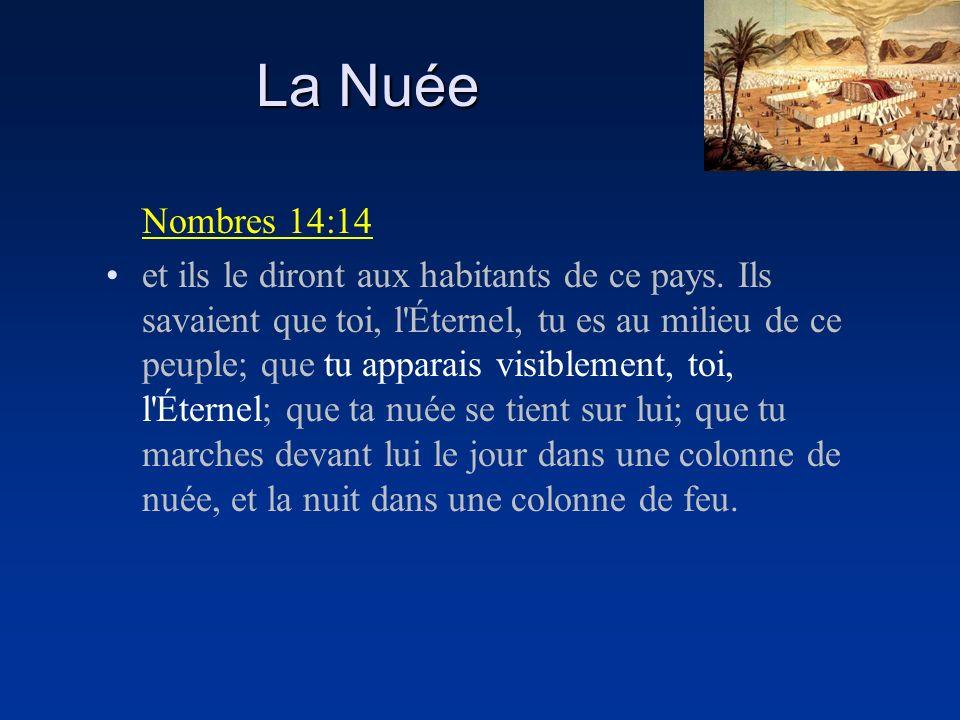 La Nuée Nombres 14:14 et ils le diront aux habitants de ce pays. Ils savaient que toi, l'Éternel, tu es au milieu de ce peuple; que tu apparais visibl