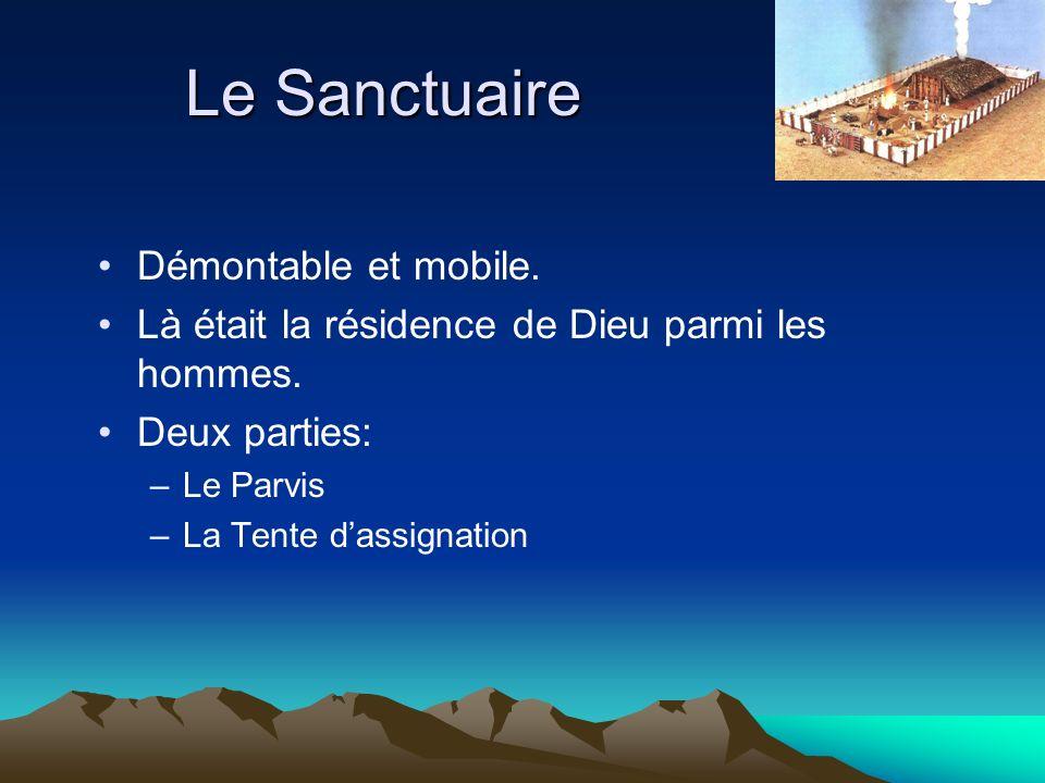 Le Sanctuaire Démontable et mobile. Là était la résidence de Dieu parmi les hommes. Deux parties: –Le Parvis –La Tente dassignation