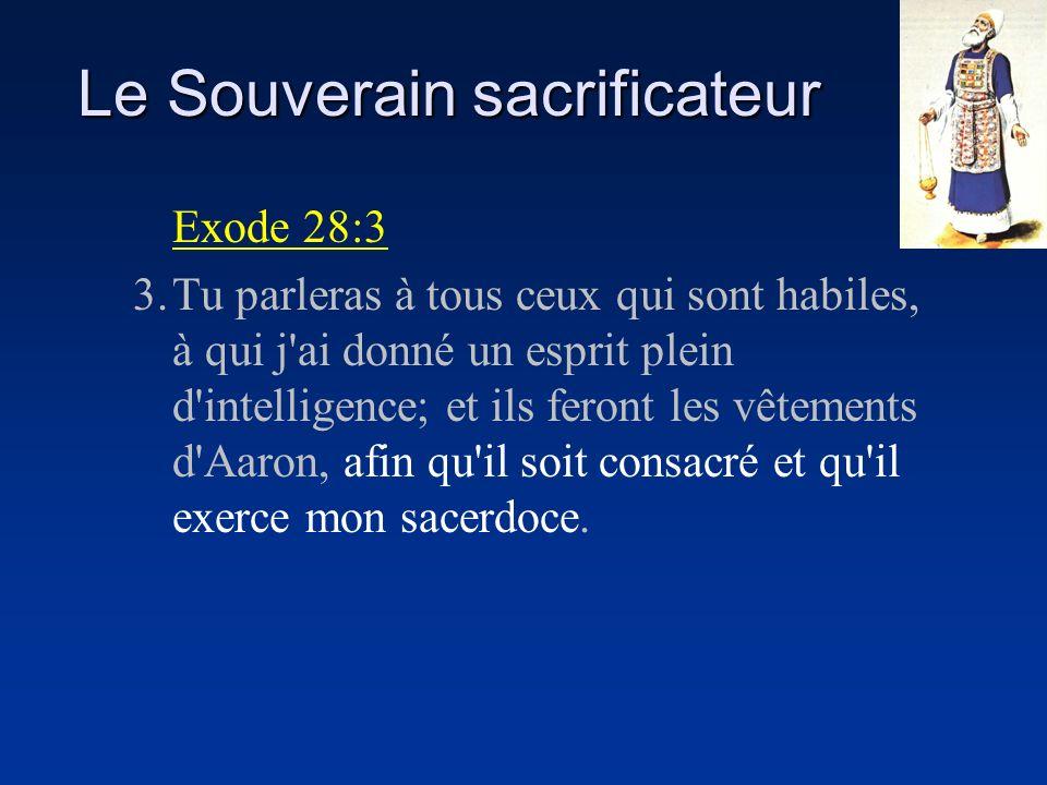 Le Souverain sacrificateur Exode 28:3 3.Tu parleras à tous ceux qui sont habiles, à qui j'ai donné un esprit plein d'intelligence; et ils feront les v