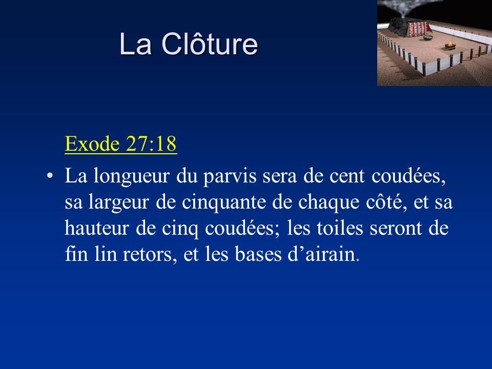 Exode 27:18 La longueur du parvis sera de cent coudées, sa largeur de cinquante de chaque côté, et sa hauteur de cinq coudées; les toiles seront de fi