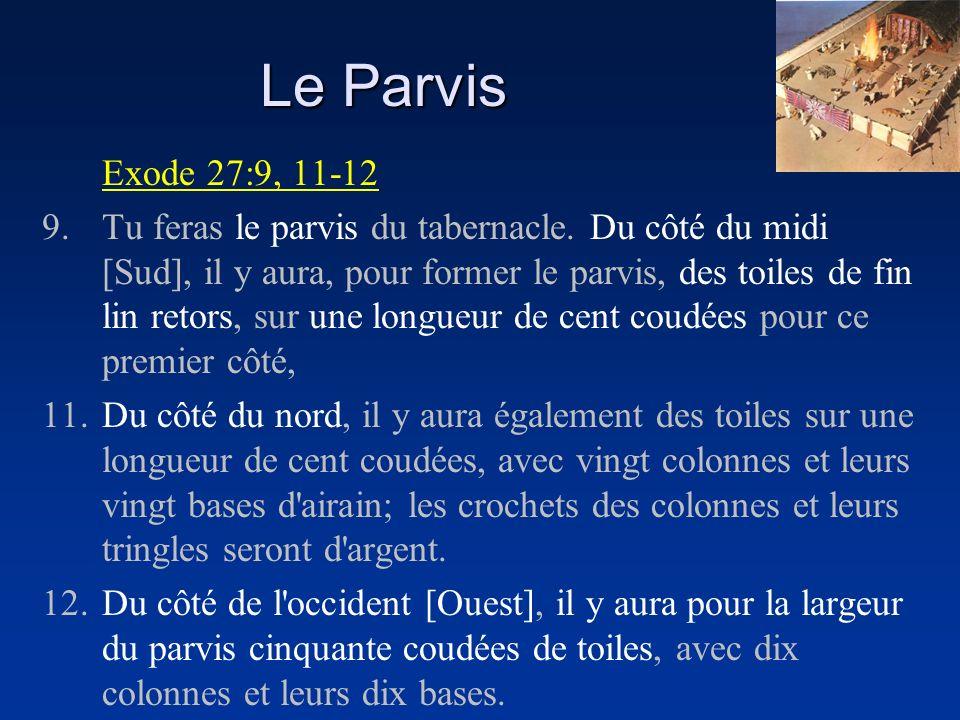 Exode 27:9, 11-12 9.Tu feras le parvis du tabernacle. Du côté du midi [Sud], il y aura, pour former le parvis, des toiles de fin lin retors, sur une l