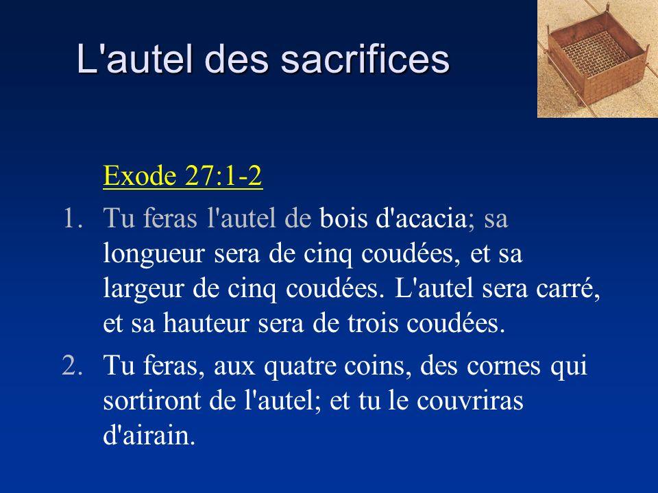 L'autel des sacrifices Exode 27:1-2 1.Tu feras l'autel de bois d'acacia; sa longueur sera de cinq coudées, et sa largeur de cinq coudées. L'autel sera