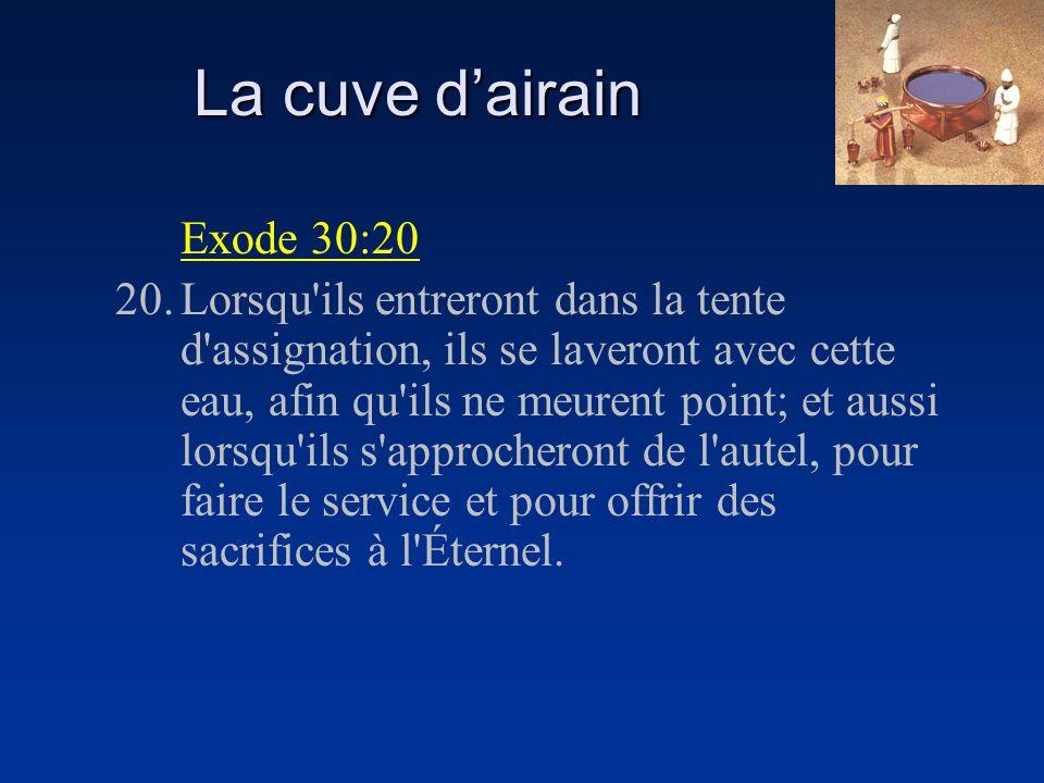 La cuve dairain Exode 30:20 20.Lorsqu'ils entreront dans la tente d'assignation, ils se laveront avec cette eau, afin qu'ils ne meurent point; et auss