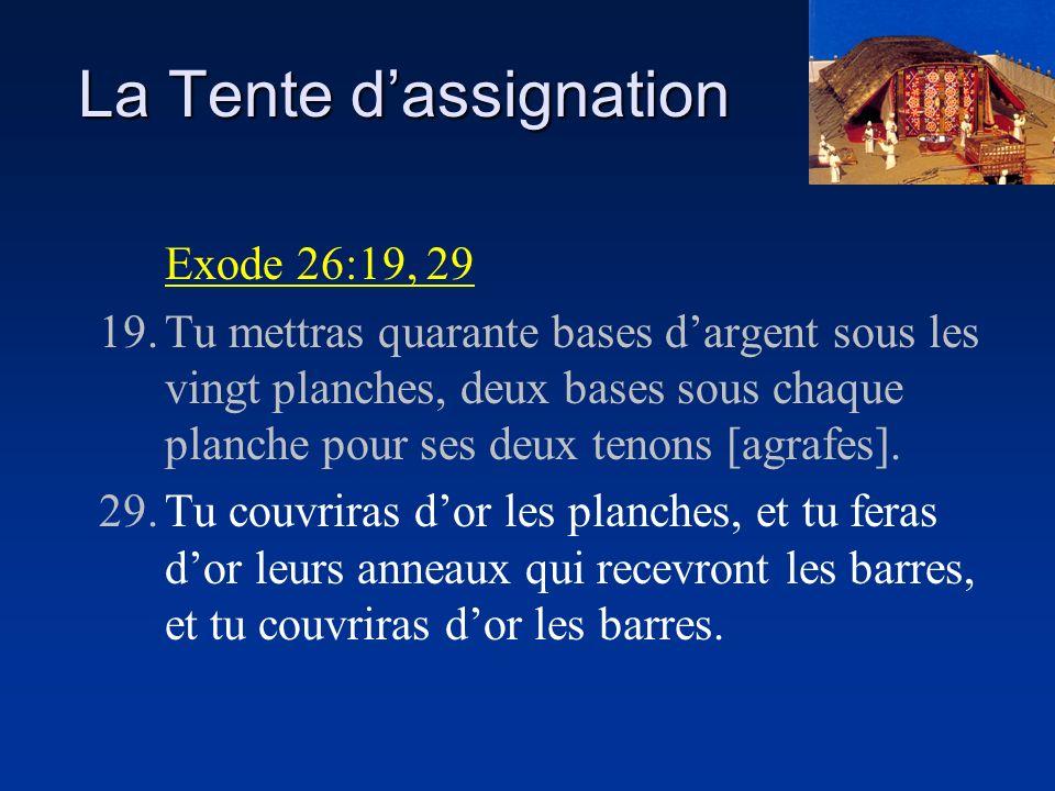 La Tente dassignation Exode 26:19, 29 19.Tu mettras quarante bases dargent sous les vingt planches, deux bases sous chaque planche pour ses deux tenon