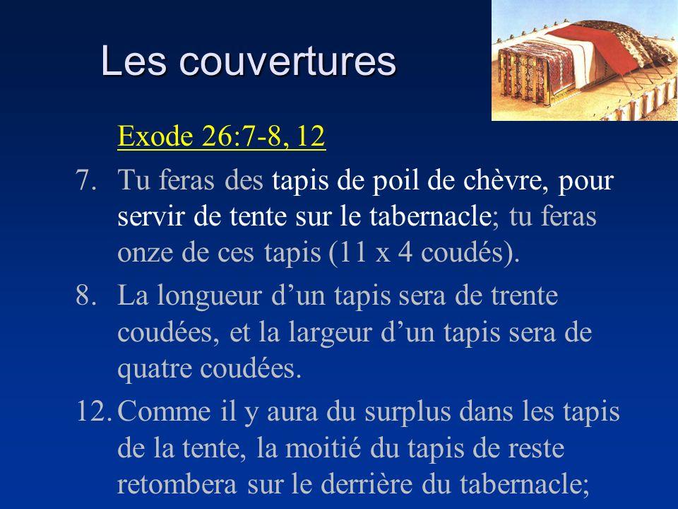 Les couvertures Exode 26:7-8, 12 7.Tu feras des tapis de poil de chèvre, pour servir de tente sur le tabernacle; tu feras onze de ces tapis (11 x 4 co