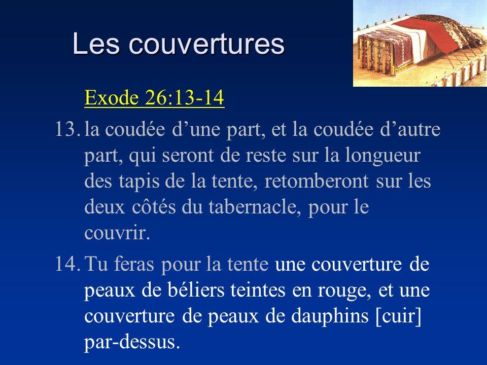 Les couvertures Exode 26:13-14 13.la coudée dune part, et la coudée dautre part, qui seront de reste sur la longueur des tapis de la tente, retomberon