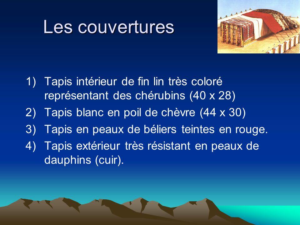 Les couvertures 1)Tapis intérieur de fin lin très coloré représentant des chérubins (40 x 28) 2)Tapis blanc en poil de chèvre (44 x 30) 3)Tapis en pea
