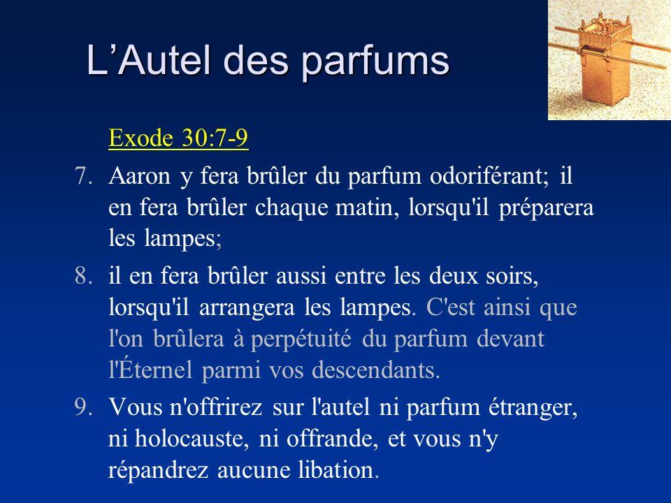 LAutel des parfums Exode 30:7-9 7.Aaron y fera brûler du parfum odoriférant; il en fera brûler chaque matin, lorsqu'il préparera les lampes; 8.il en f