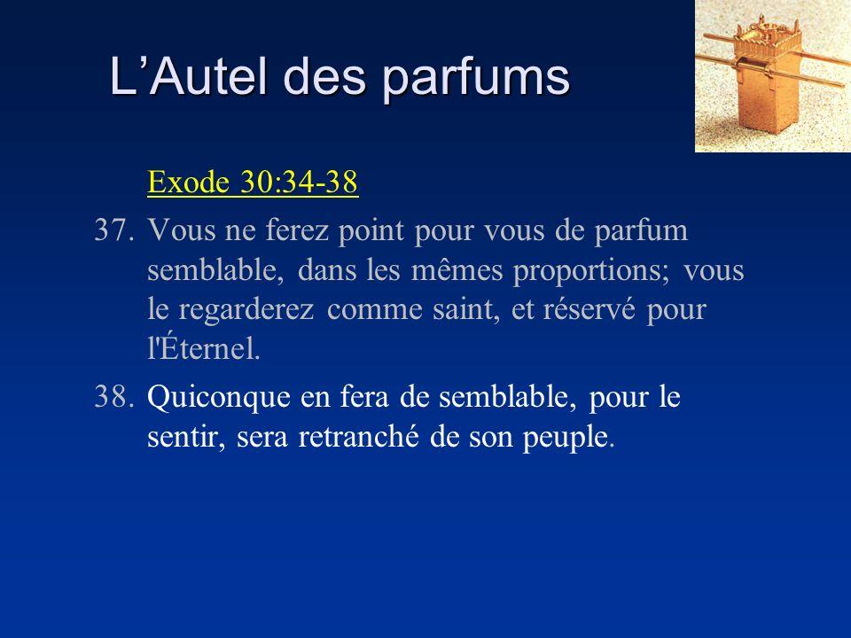 LAutel des parfums Exode 30:34-38 37.Vous ne ferez point pour vous de parfum semblable, dans les mêmes proportions; vous le regarderez comme saint, et