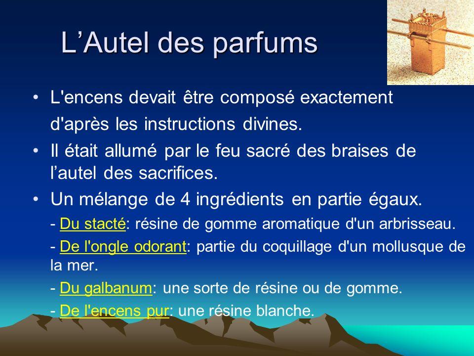 LAutel des parfums L'encens devait être composé exactement d'après les instructions divines. Il était allumé par le feu sacré des braises de lautel de
