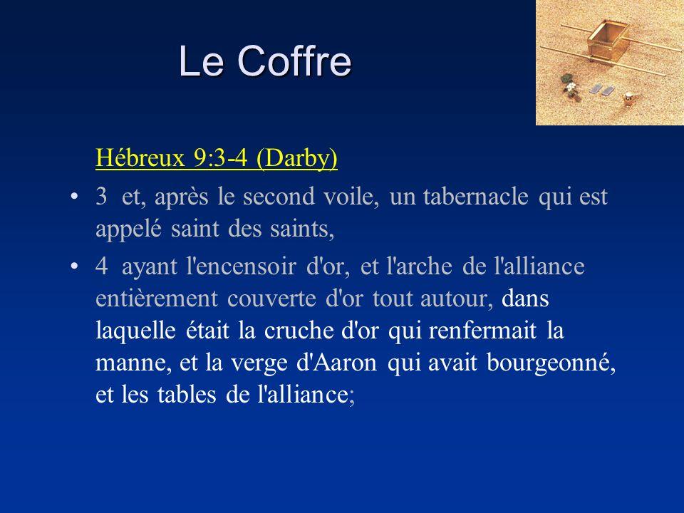 Hébreux 9:3-4 (Darby) 3 et, après le second voile, un tabernacle qui est appelé saint des saints, 4 ayant l'encensoir d'or, et l'arche de l'alliance e