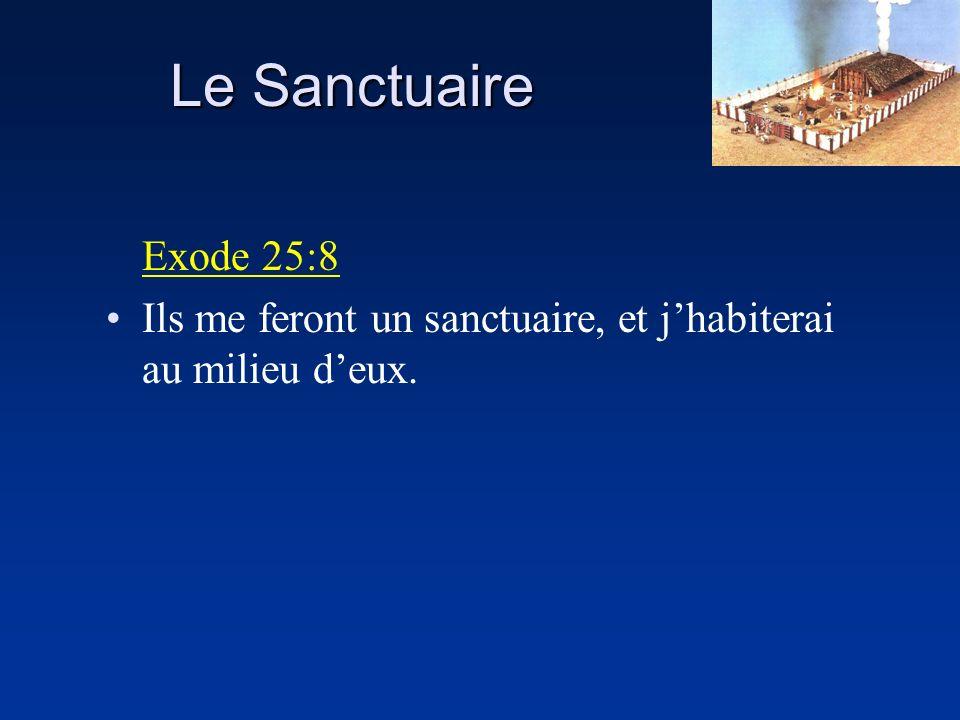 Le Sanctuaire Exode 29:43 Je me rencontrerai là avec les enfants dIsraël, et ce lieu sera sanctifié par ma gloire.