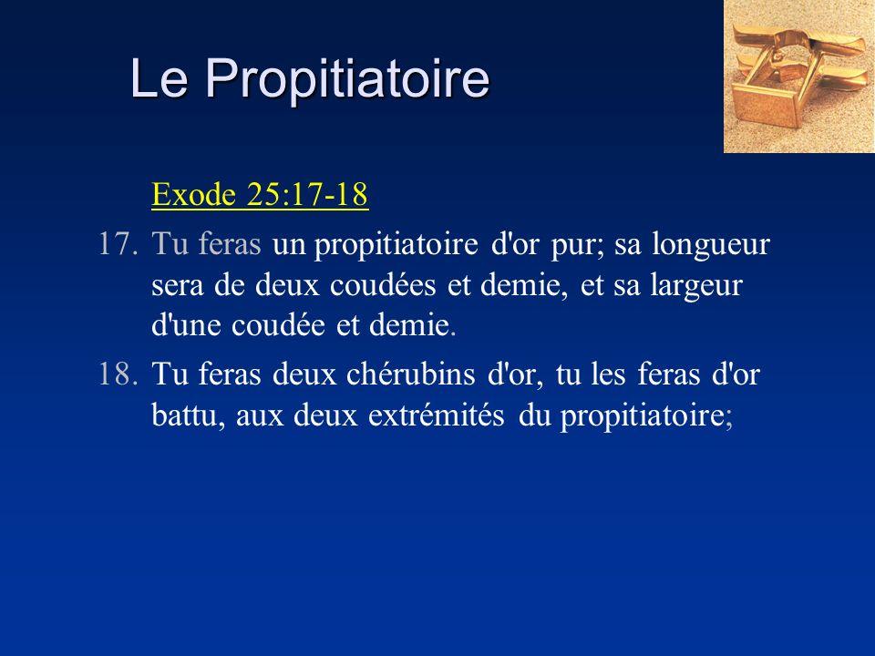 Exode 25:17-18 17.Tu feras un propitiatoire d'or pur; sa longueur sera de deux coudées et demie, et sa largeur d'une coudée et demie. 18.Tu feras deux