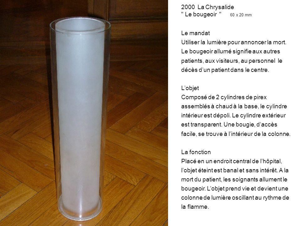 2000 La Chrysalide Le bougeoir 60 x 20 mm Le mandat Utiliser la lumière pour annoncer la mort.