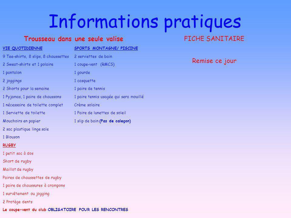 Informations pratiques Trousseau dans une seule valise VIE QUOTIDIENNESPORTS MONTAGNE/ PISCINE 9 Tee-shirts, 8 slips, 8 chaussettes 2 serviettes de ba