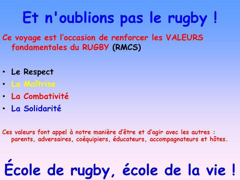 Et n'oublions pas le rugby ! Ce voyage est loccasion de renforcer les VALEURS fondamentales du RUGBY (RMCS) Le Respect La Maîtrise La Combativité La S