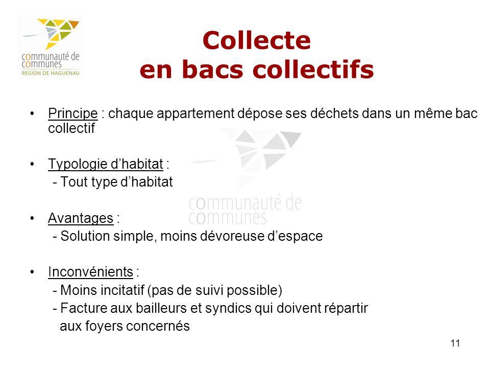 11 Collecte en bacs collectifs Principe : chaque appartement dépose ses déchets dans un même bac collectif Typologie dhabitat : - Tout type dhabitat A