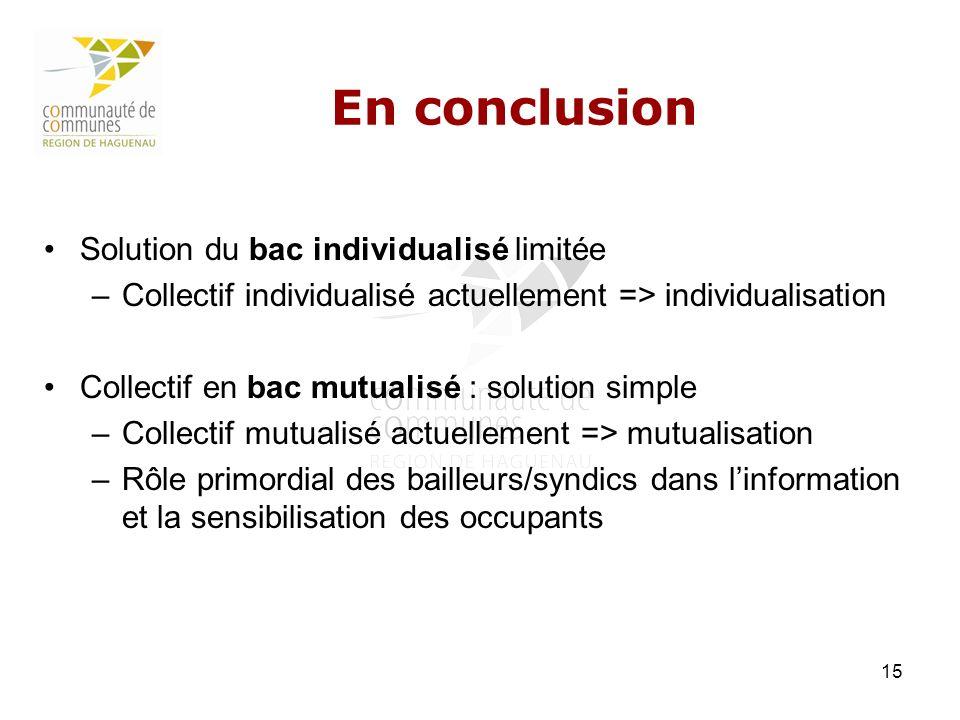 15 En conclusion Solution du bac individualisé limitée –Collectif individualisé actuellement => individualisation Collectif en bac mutualisé : solutio
