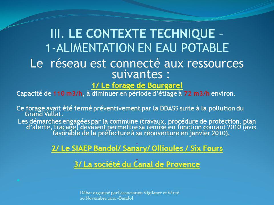 III. LE CONTEXTE TECHNIQUE – 1-ALIMENTATION EN EAU POTABLE Le réseau est connecté aux ressources suivantes : 1/ Le forage de Bourgarel Capacité de 110