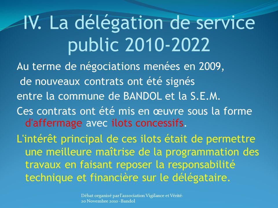 IV. La délégation de service public 2010-2022 Au terme de négociations menées en 2009, de nouveaux contrats ont été signés entre la commune de BANDOL