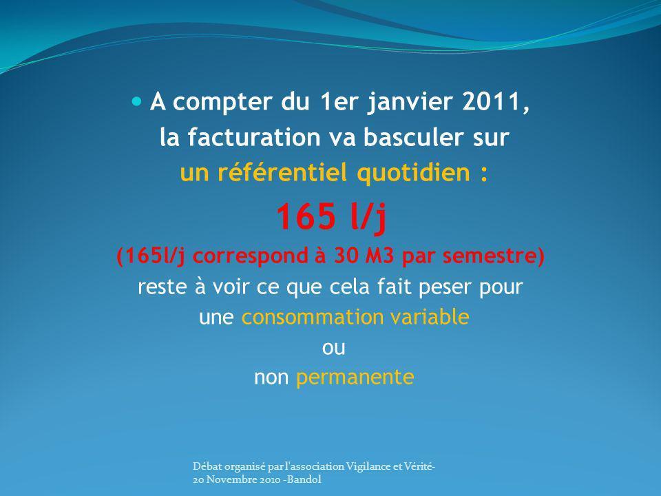 A compter du 1er janvier 2011, la facturation va basculer sur un référentiel quotidien : 165 l/j (165l/j correspond à 30 M3 par semestre) reste à voir