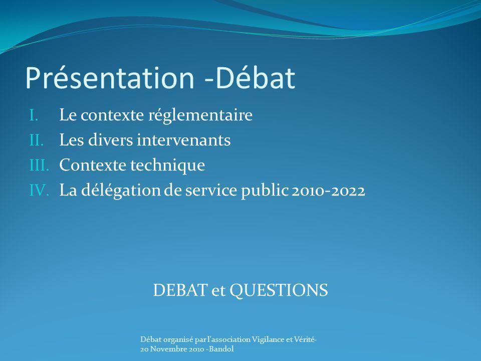 Présentation -Débat I. Le contexte réglementaire II. Les divers intervenants III. Contexte technique IV. La délégation de service public 2010-2022 DEB