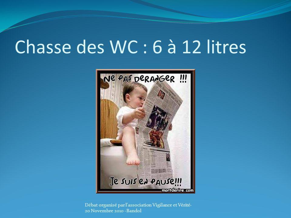 Chasse des WC : 6 à 12 litres Débat organisé par l'association Vigilance et Vérité- 20 Novembre 2010 -Bandol
