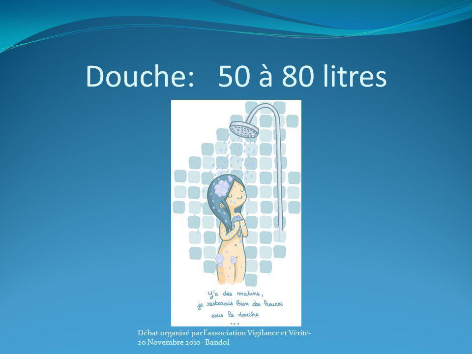 Douche: 50 à 80 litres Débat organisé par l'association Vigilance et Vérité- 20 Novembre 2010 -Bandol
