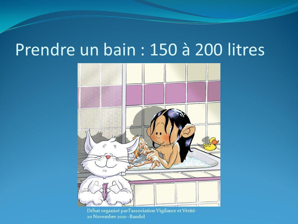 Prendre un bain : 150 à 200 litres Débat organisé par l'association Vigilance et Vérité- 20 Novembre 2010 -Bandol