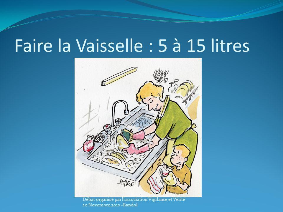 Faire la Vaisselle : 5 à 15 litres Débat organisé par l'association Vigilance et Vérité- 20 Novembre 2010 -Bandol