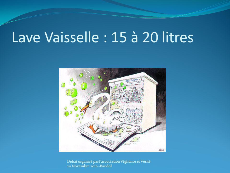 Lave Vaisselle : 15 à 20 litres Débat organisé par l'association Vigilance et Vérité- 20 Novembre 2010 -Bandol