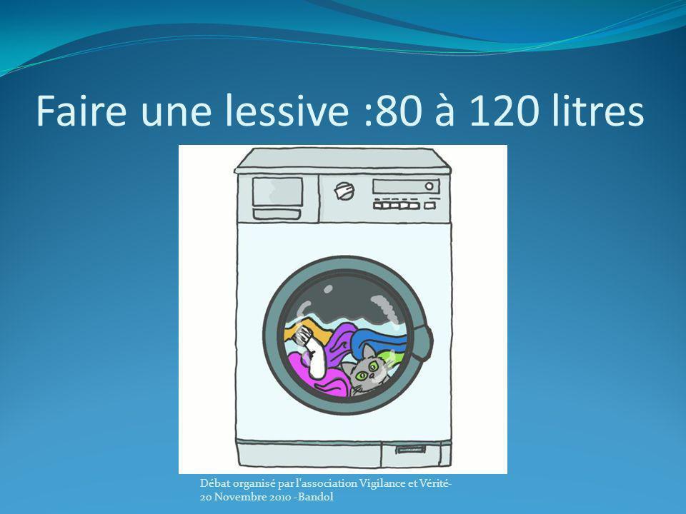 Faire une lessive :80 à 120 litres Débat organisé par l'association Vigilance et Vérité- 20 Novembre 2010 -Bandol