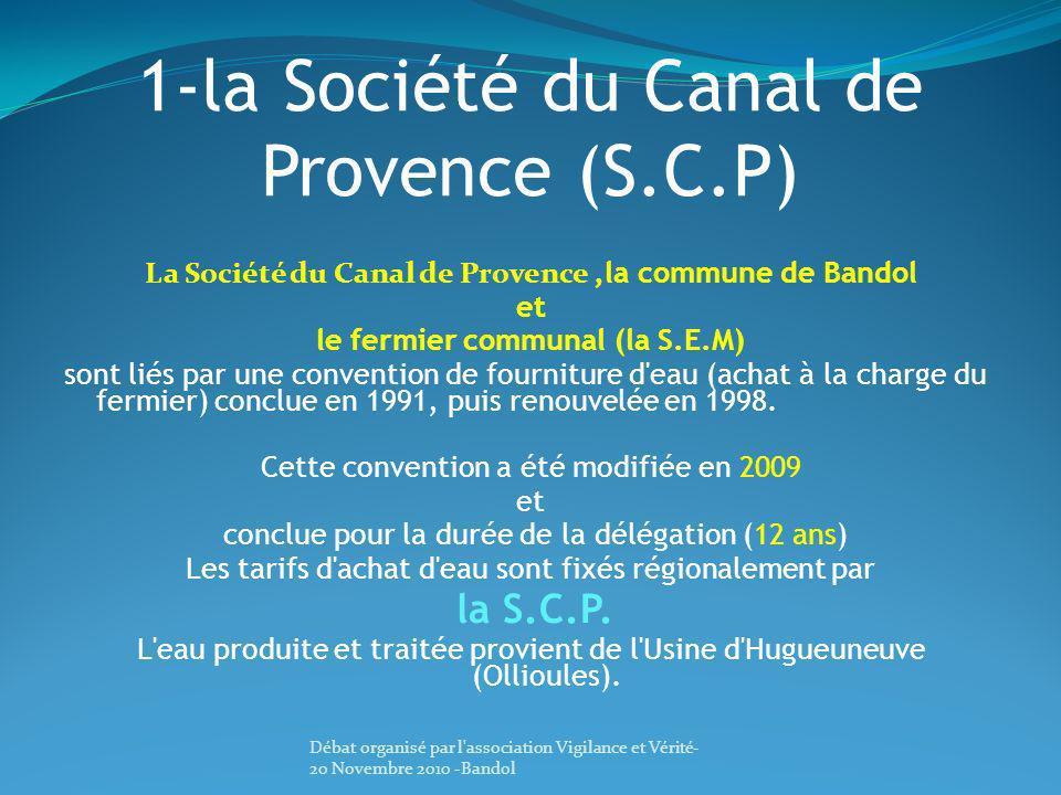 1-la Société du Canal de Provence (S.C.P) La Société du Canal de Provence,la commune de Bandol et le fermier communal (la S.E.M) sont liés par une con