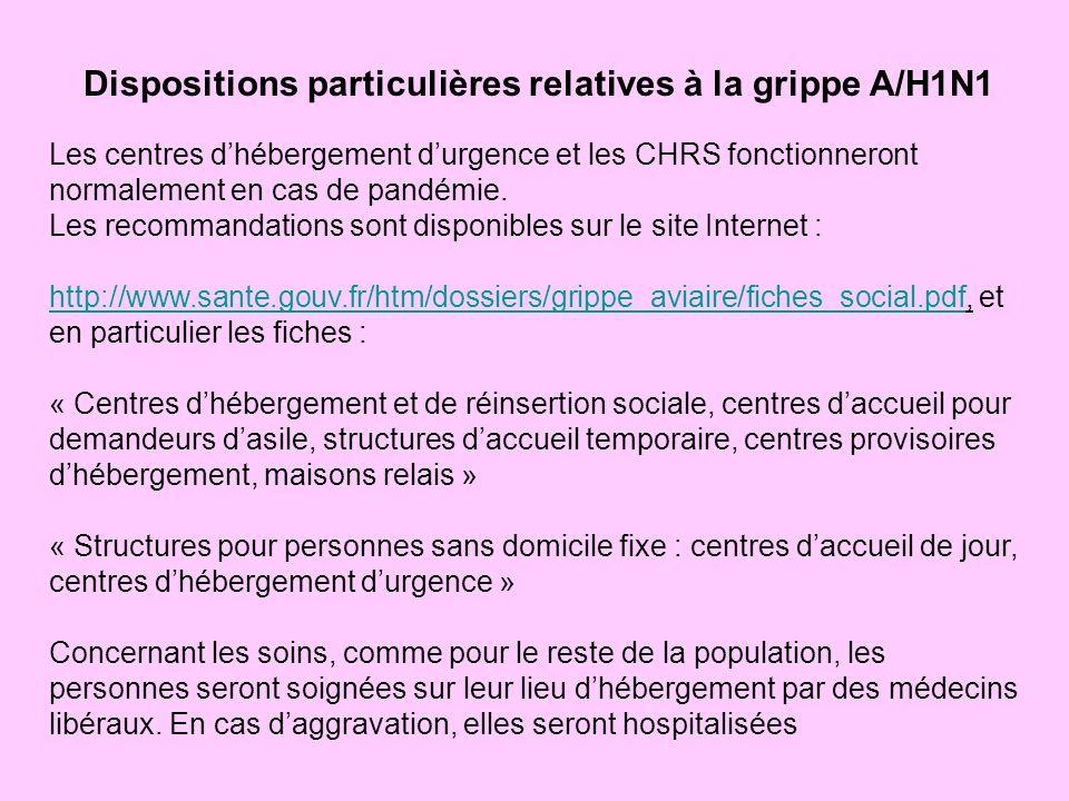 Dispositions particulières relatives à la grippe A/H1N1 Les centres dhébergement durgence et les CHRS fonctionneront normalement en cas de pandémie.