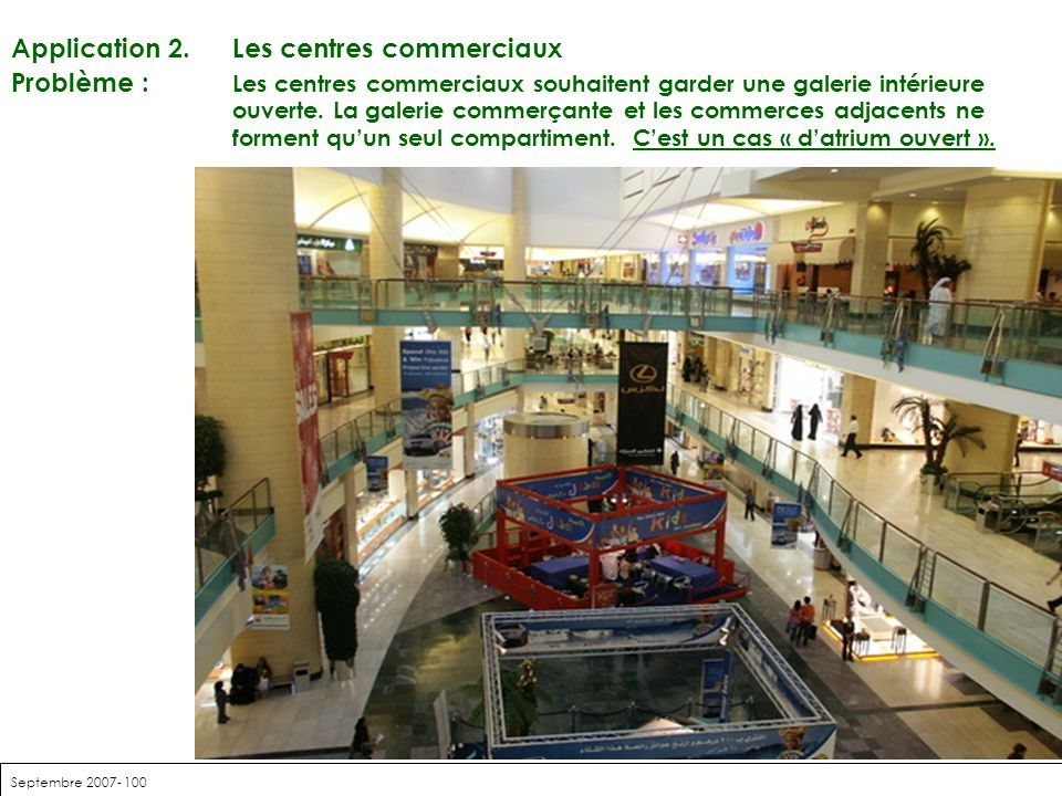 Septembre 2007- 100 Application 2. Les centres commerciaux Problème : Les centres commerciaux souhaitent garder une galerie intérieure ouverte. La gal