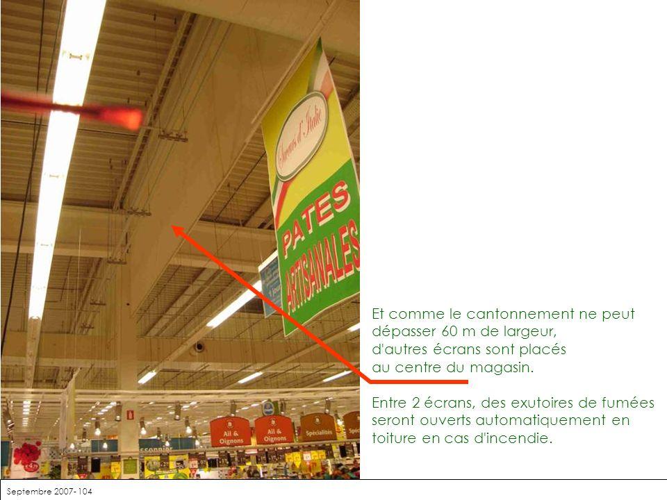 Septembre 2007- 104 Et comme le cantonnement ne peut dépasser 60 m de largeur, d'autres écrans sont placés au centre du magasin. Entre 2 écrans, des e