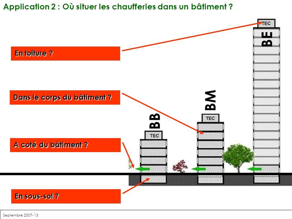 Septembre 2007- 13 BE BM BB Application 2 : Où situer les chaufferies dans un bâtiment ? Dans le corps du bâtiment ? En toiture ? A coté du bâtiment ?