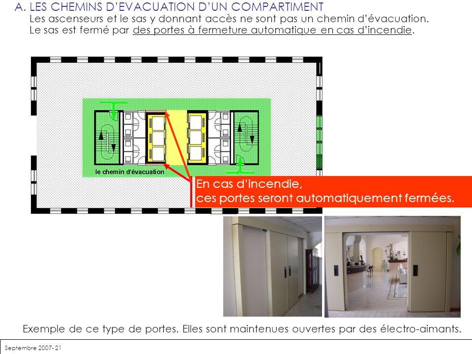 Septembre 2007- 21 A.LES CHEMINS DEVACUATION DUN COMPARTIMENT Les ascenseurs et le sas y donnant accès ne sont pas un chemin dévacuation. Le sas est f