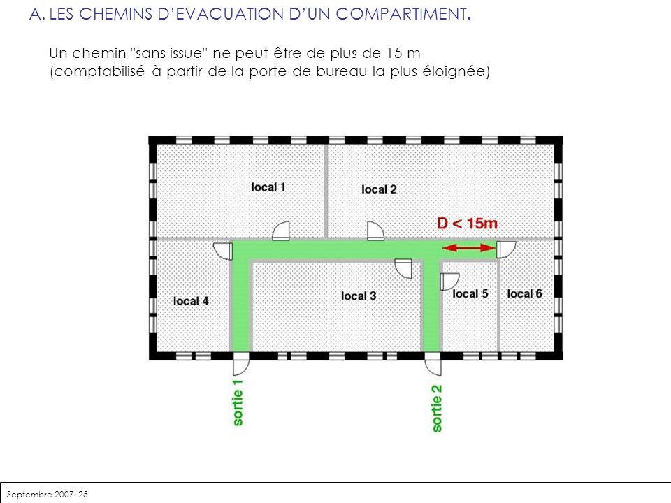 Septembre 2007- 25 A.LES CHEMINS DEVACUATION DUN COMPARTIMENT. Un chemin