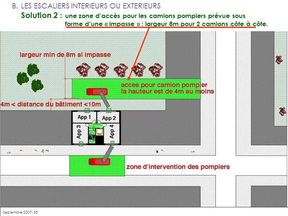 Septembre 2007- 35 B.LES ESCALIERS INTERIEURS OU EXTERIEURS Solution 2 : une zone daccès pour les camions pompiers prévue sous forme dune « impasse »