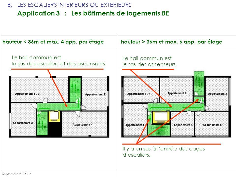 Septembre 2007- 37 hauteur > 36m et max. 6 app. par étagehauteur < 36m et max. 4 app. par étage Le hall commun est le sas des escaliers et des ascense